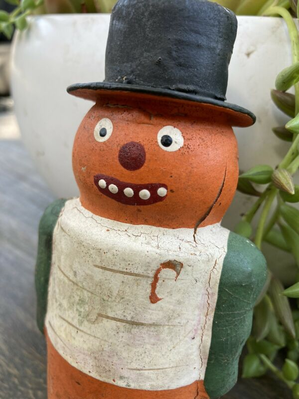 vintage halloween pumpkin man candy container Germany