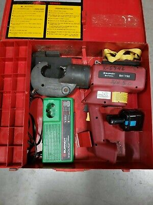 Burndy Bat750 12 Ton 12v Crimper With 1 Battery And Charger
