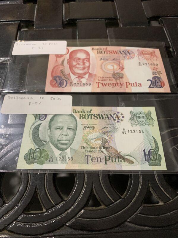 BOTSWANA 20  10 PULA ND 1999 P 21 20 Unc Price For Both