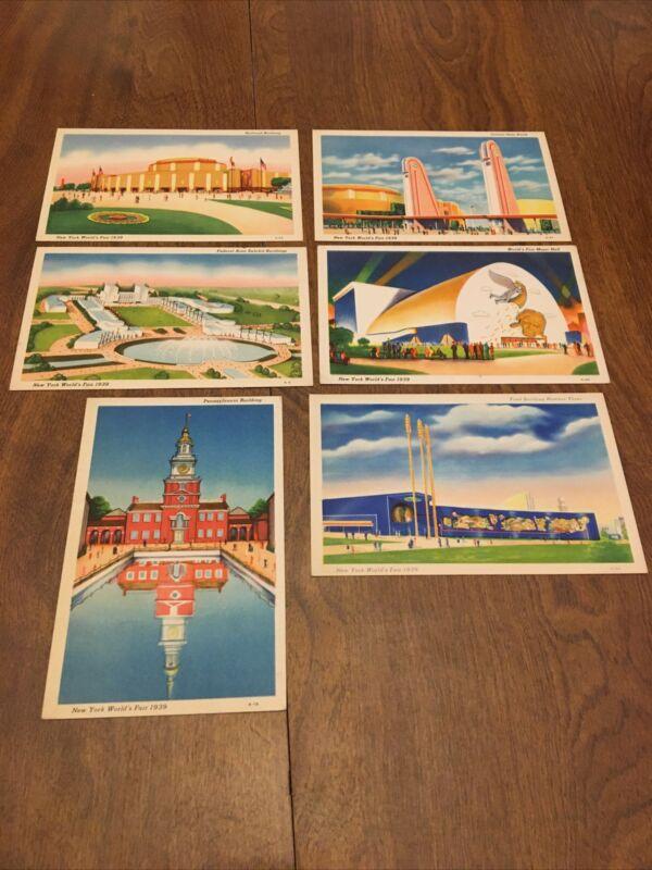 Lot Of 6 1939 New York World's Fair Linen Postcards Unused