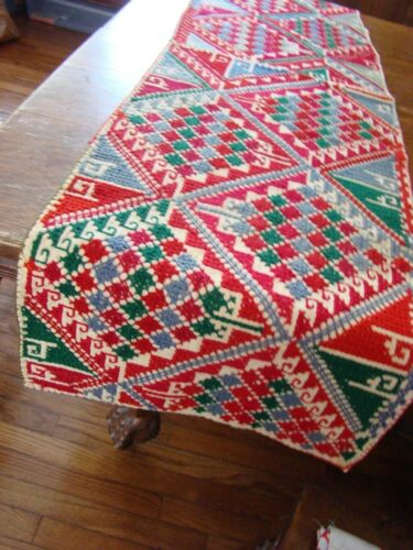 Antique old home spun heavy linen red cross stitch design primitive Table Runner