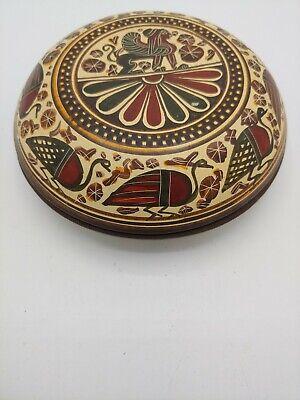 RARE Vintage Real Copy Handmade in Greece 700 BC Mary Terracotta Trinket Box