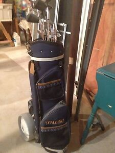 Spalding golf bag and  left hand clubs