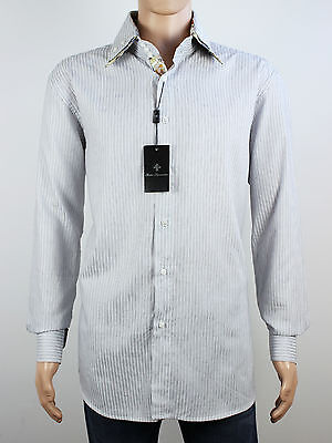NEW Rosso Fiorentino Mens Size L XL Long Sleeve White Stripe Shirt  image