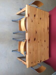 Craft table and vintage kids chairs