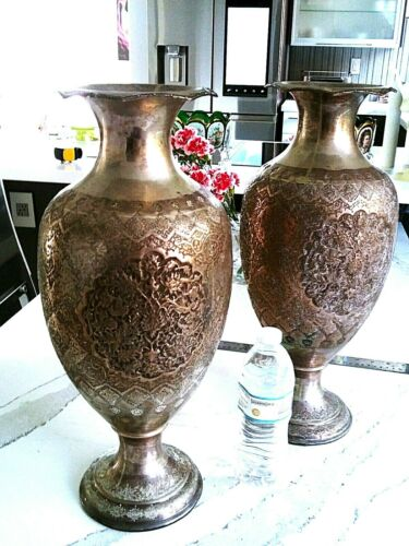 PERSHIAN ART EXHIBITION X LARGE PAIR OF ANTIQUE SOLID SILVER  VASES 47 X 20 CM