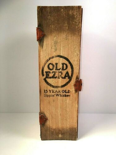 Vintage Old Ezra 15 Year old Sippin' Whiskey Wooden Box Only 101 Proof