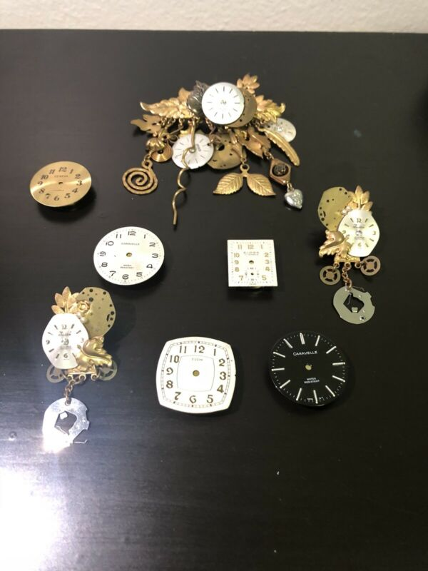 Unique Rare Vintage watch face, skeleton brooches and earrings-jewelry