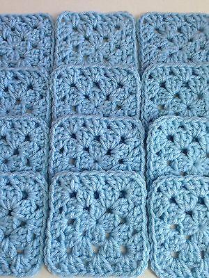 "20 4"" SKY BLUE Hand Crocheted GRANNY SQUARES Afghan Yarn Throw Blanket Blocks"