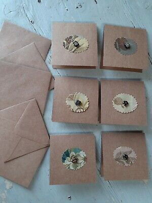 6 handmade cards with fragments of antique hand-painted Aubusson cartoons &beads