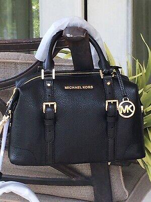 MICHAEL KORS GINGER SMALL DUFFLE SATCHEL SHOULDER BAG BLACK LEATHER GOLD $378