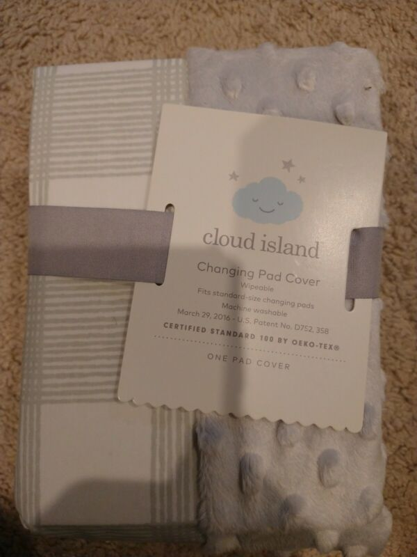 """Cloud Island Baby Changing Pad Cover Cevron White Gray 32""""X 18"""" X 7"""""""