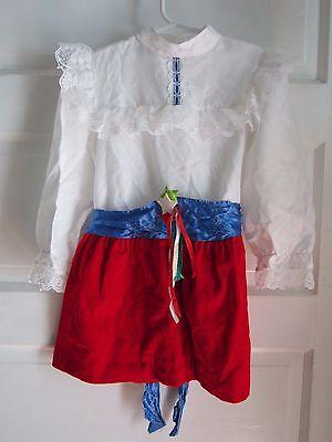 Red Velvet Mädchen Kleid (Vintage Kll Mädchen Sz 5 Red Weiß & Blau Velvet Satin Spitze 4th Juli Kleid USA)