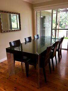 Domayne 6-8 seat solid dining table and chairs Castle Hill The Hills District Preview