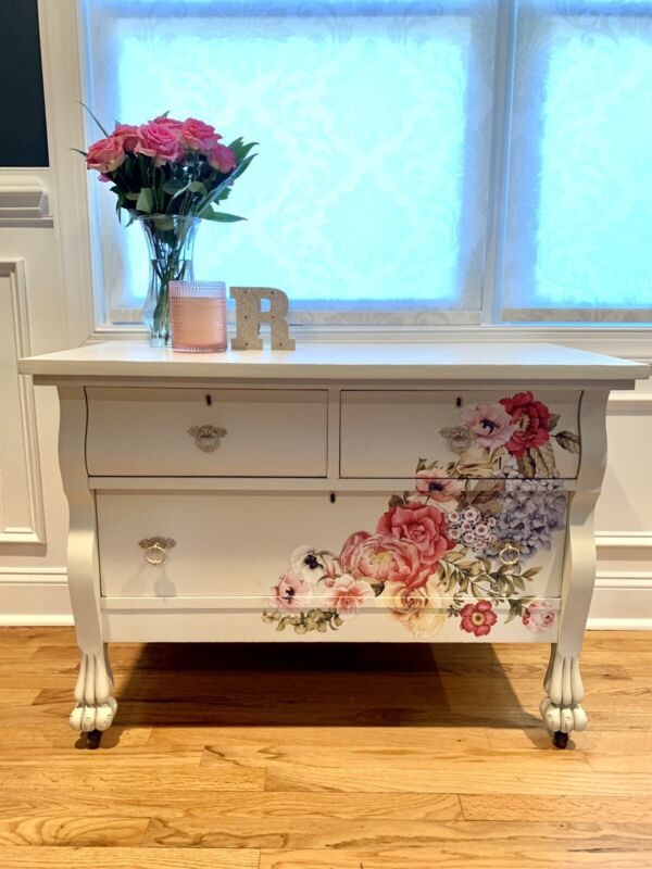 3 Drawer Refinished Hand Painted Low Boy Dresser
