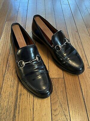 Gucci Vintage Horsebit Black Leather Loafers Mens Sz US 7.5
