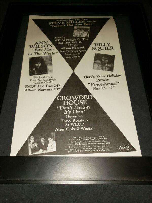 Crowded House/Steve Miller/Ann Wilson Rare Radio Promo Poster Ad Framed!