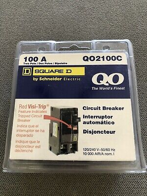 Square D Qo 100 Amp Two Pole Circuit Breaker - Model Q02100c Brand New