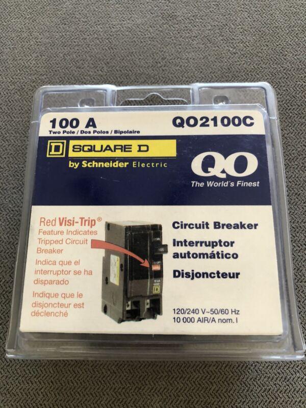 Square D QO 100 Amp Two Pole Circuit Breaker - Model Q02100C Brand New