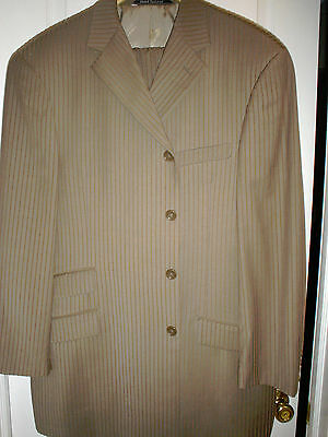 Ultra Stylish  Amazing  Must Own Steve Harvey Collection Super 120 Tan Suit 44R