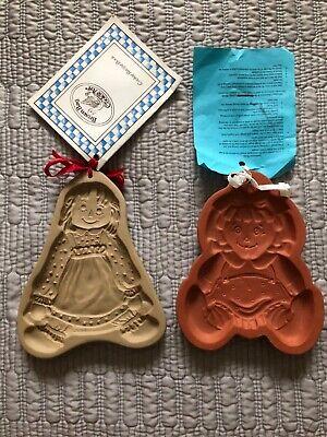 VTG Brown Bag Cookie Art Stoneware/ Fox Run Raggedy Ann & Andy Mold Recipe Book