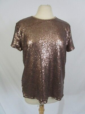 Sequin Top Bronze Gold Short Sleeve Keyhole Back Button Size L By AXIS - Gold Sequin Top