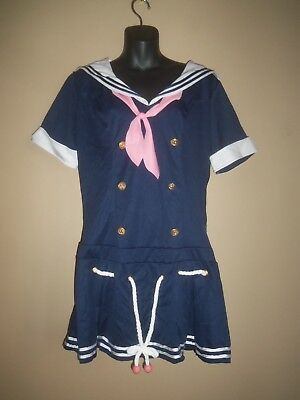 LEG AVENUE NAUTICAL BLUE WHITE PINK SAILOR HALLOWEEN COSTUME DRESS SIZE XL