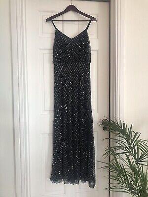 Men's 1920s Style Ties, Neck Ties & Bowties Adrianna Papell size 10 Navy Beaded Long Dress Prom, Black Tie, Wedding $123.92 AT vintagedancer.com