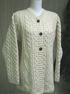 CARRAIGDONN IRELAND 100% MERINO WOOL CABLE KNIT CARDIGAN SWEATER - SZ LG -