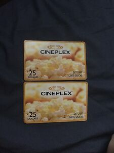 2 $25 gift cards to cineplex