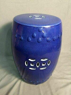 Asian Garden Stool Chinese Glazed Ceramic Cobalt Blue Indoor (Chinese Ceramic Porcelain Garden Stool)