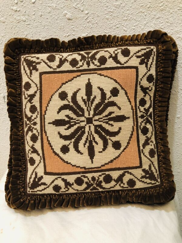 Antique French Velvet Pillow Needlepoint  Victorian Circa Late 1800