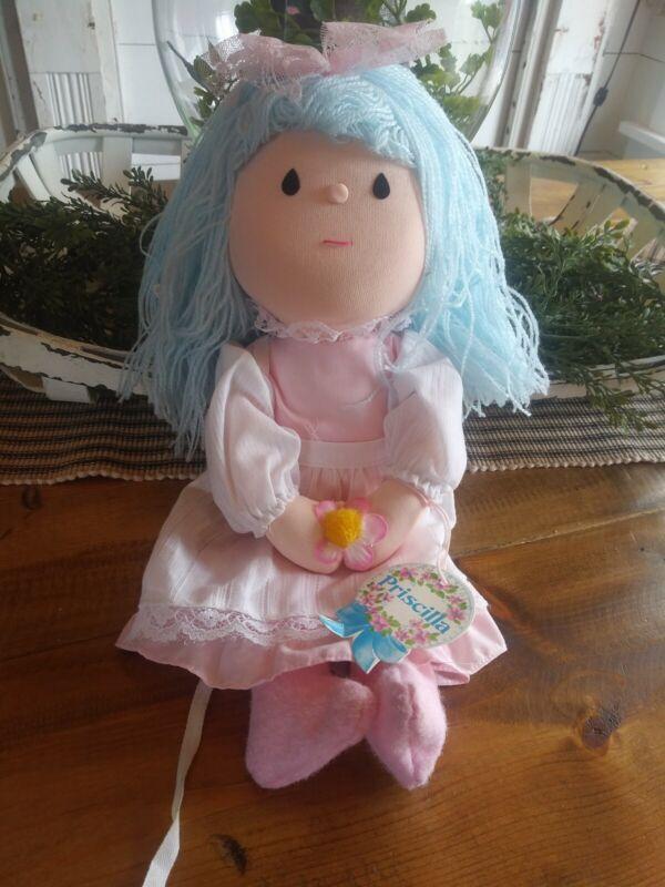Priscilla Soft Cloth Doll 1979 Russ Berrie Blue Yarn Hair Pink Dress White Apron