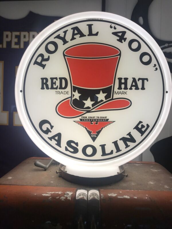 "2 Royal 400 Gas Pump Globe Lenses Red Hat 13.5"" Reproduction of American Pickers"
