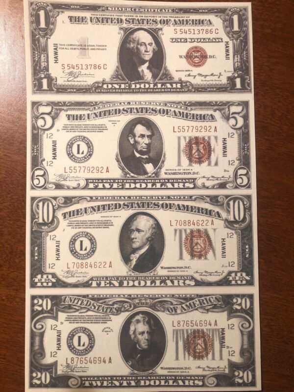 Copy 1934 Hawaii WWII $1 $5 $10 $20 Uncut Reproduction Currency Money Sheet