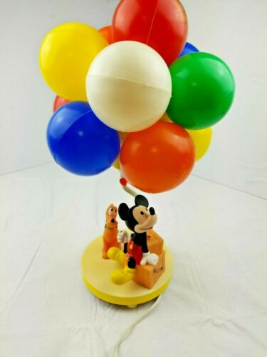 Walt Disney Mickey Mouse Pluto Balloon Nightlight And Lamp VTG Working tested