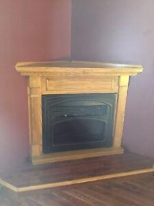 Electric Fireplace and Oak Veneer Mantle