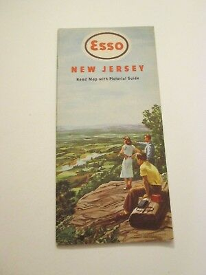 Vintage 1949 ESSO New Jersey Oil Gas Service Station Road Map