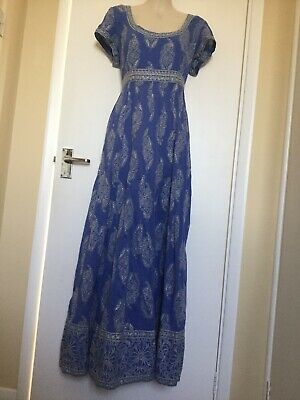 East Anokhi Artisan Blue Maxi Hippy Indian Block Print Dress 12.