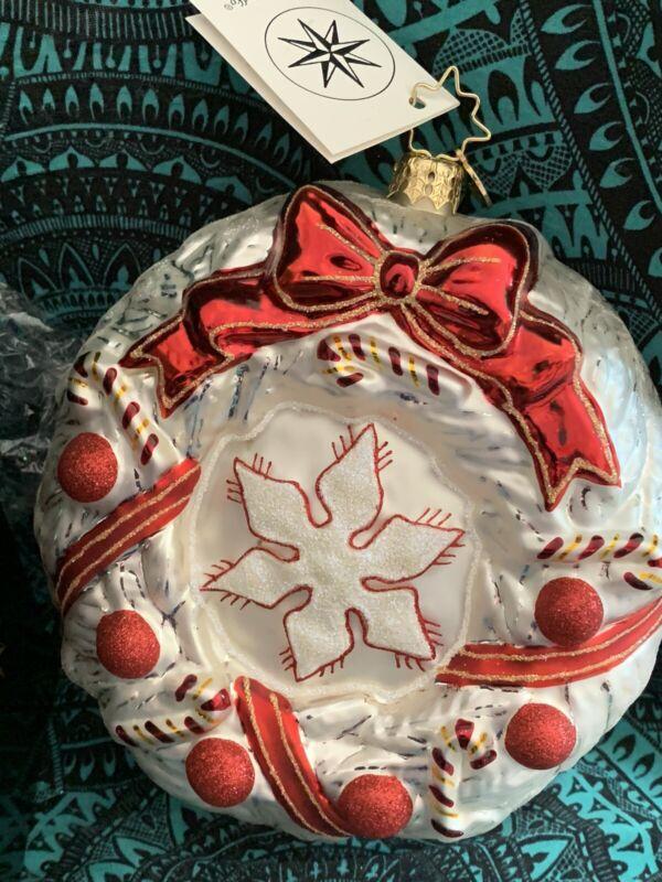 """Radko ICE MINT HOLIDAY Happy Holidays  Ornament Wreath Ribbon BALL 5.5"""" 1015198"""