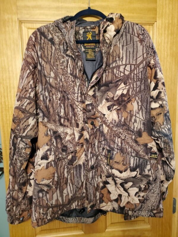 Mens XL Browning Hunting Jacket Coat Camouflage Mossy Oak Brown Camo Nice!