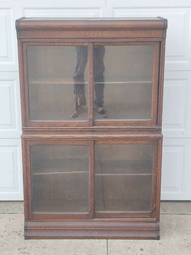 Antique Quarter Sawn Oak, Danner Step Back Bookcase, 3 Sectionals, Tall, Pick Up