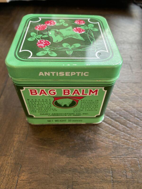 Vintage BAG BALM Dairy Association Tin Antiseptic 10oz Empty Can Lyndonville VT