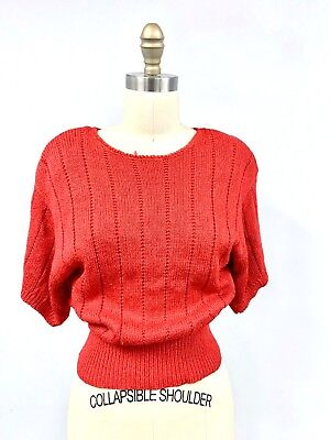 Christian Dior Red Sweater 1980s Wide Waist Short Sleeve Sweetheart Red Vintage -