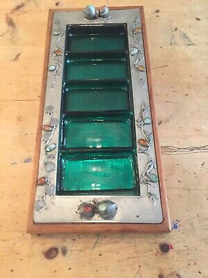 Arts & Crafts Pewter Wood Semi Precious Jems Nibbles Serving Plater 1880-1920
