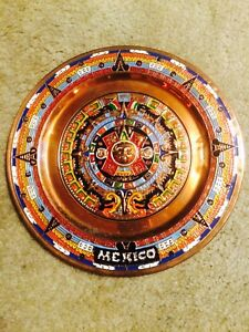 Copper/Tin Beautiful colourful plate from Mexico!