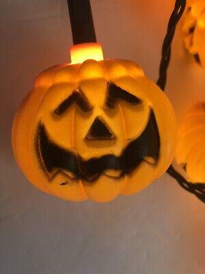 2 Vintage Blow Mold Pumpkin String Lights Jack O Lantern Halloween