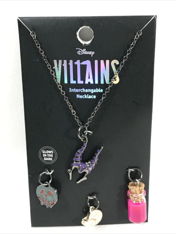 Disney Villains Interchangeable Charm Necklace Set Glow In The Dark GITD