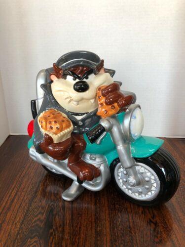 Warner Bros. Store Taz on Motorcycle Cookie Jar w/ Original Box.
