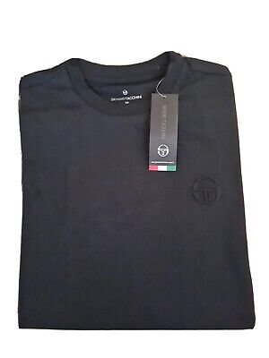 Sergio Tacchini Men's T-shirt Signature Embroidery Logo Black sz Medium